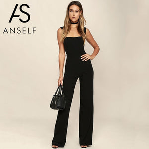 406b53dd2f Womens Jumpsuit Elegant Lady Rompers Flared Square Neck Overalls Sleeveless  Back Zipper Playsuit female dungarees Pantsuit