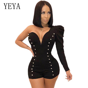 77ed3bc88b YEYA One Shoulder Sexy Playsuit Long Sleeve Deep V Neck Beaded Elegant Jumpsuit  Romper Club Party