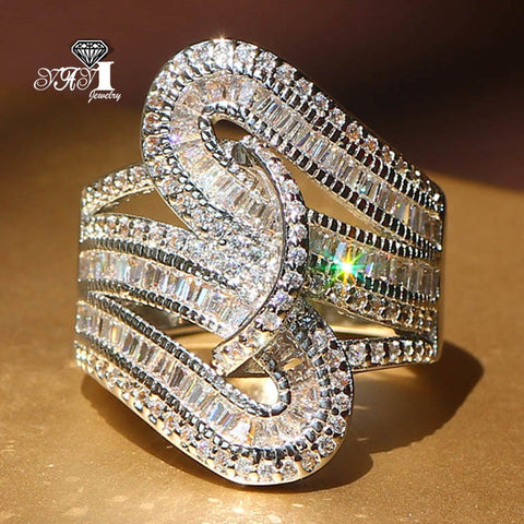 f9ec35bc5e94d fashion Wedding Crystal Silver Ring Engagement Single Gold Cubic ...