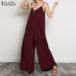 9b30b482fea5 ZANZEA 2018 Summer Women Sexy V Neck Long Jumpsuits Casual Loose Rompers  Overalls Wide Leg Mono