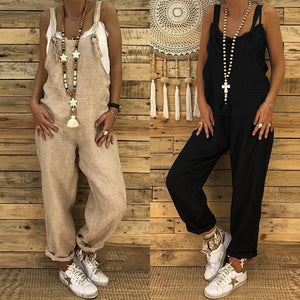 eb3b9bcbf5d ZANZEA Ladies Linen Overalls 2018 Vintage Casual Dungarees Jumpsuits Women  Long Rompers Female Harem Pants Trousers