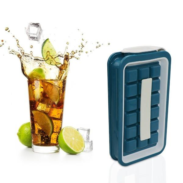 PORTABLE ICE CUBE TRAY- AN EASY WAY TO MAKE CLEAN ICE CUBES. YOUR ICE IS READY TO BE SERVED WITHOUT TOUCHING IT.