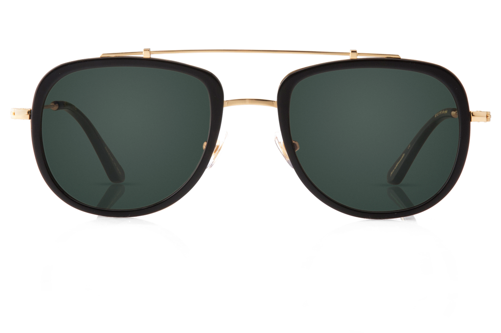 Designed with lightweight functionality in mind, Breton is our sleek take on the iconic aviator, with refined lines that make it a perfect fit for adventure-seekers. Free shipping and lifetime warranty.  Green lens and handcrafted black acetate frame with 24K gold plated hardware.