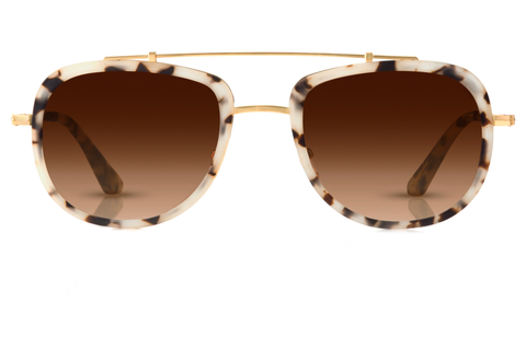 Designed with lightweight functionality in mind, Breton is our sleek take on the iconic aviator, with refined lines that make it a perfect fit for adventure-seekers. Free shipping and lifetime warranty.  Amber gradient lens and handcrafted matte oyster acetate frame with 24K gold plated hardware.