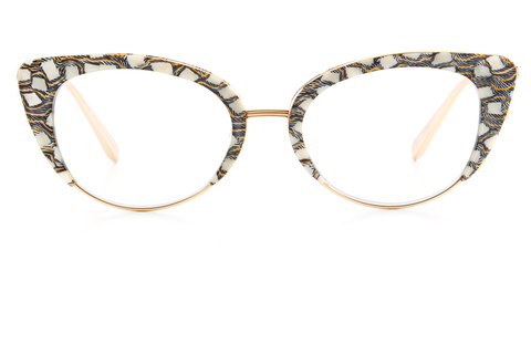 Crafted from custom-cast titanium and acetate, this feminine silhouette is an update on the classic cat-eye that will take you from desk to dinner with ease.  Free shipping / free returns and lifetime warranty.  Features a handcrafted Stella custom acetate frame with 18K titanium hardware.