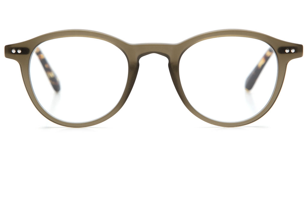With a combination of lightweight titanium and acetate, Claude's rounded, '60s-inspired silhouette is an updated take on a classic fit. These frames come with a lifetime warranty and are eligible for free shipping and free returns.  Features handcrafted matte sage acetate and titanium hardware.