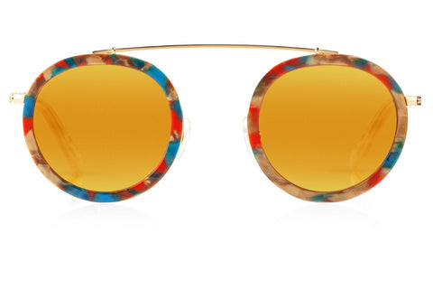Named for the vibrant French Quarter street, Conti boasts a metal structure, rounded lenses, and a unique brow bridge that provides a seemingly weightless fit, creating an everyday frame unlike any other. As seen on Gigi Hadid. Free shipping and lifetime warranty.  Gold mirrored lens and handcrafted carnevale acetate frame with 24K gold plated hardware.