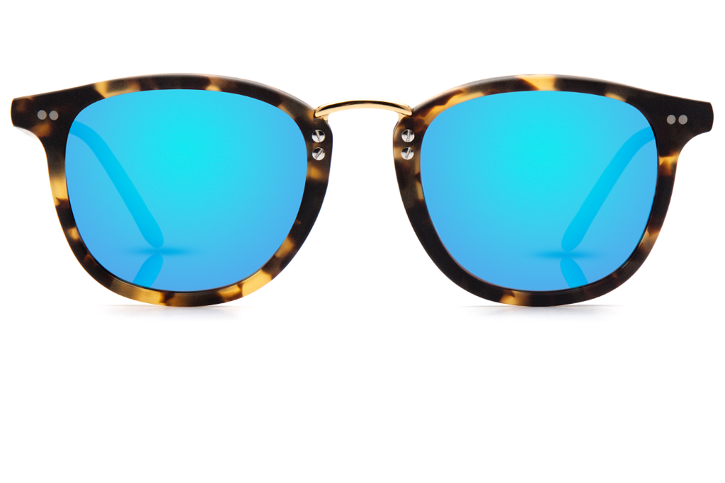 Franklin's metal bridge, lightweight construction and universal fit flatters just about everyone, making it a bold and confident choice for an everyday frame.  Free shipping and lifetime warranty.  Blue mirrored lens and handcrafted matte bengal acetate frame with 24K gold plated hardware.