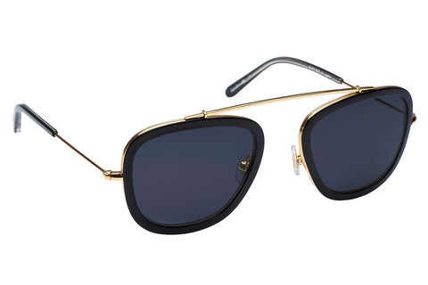 Inspired by the high arching lines of New Orleans' famed Mississippi River bridge, Huey's lightweight, flexible bridge and square silhouette embody a unisex style and swagger.  Free shipping and lifetime warranty.  Blue lens and handcrafted black acetate frame with 24K gold plated hardware.
