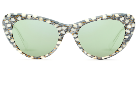 Named for the prolific Soul Queen of New Orleans, Irma is a futuristic take on the classic cat eye, handcrafted from premium acetate with a unique beveled edge. Featuring jade mirrored lenses and hand-carved acetate. Free shipping both ways.