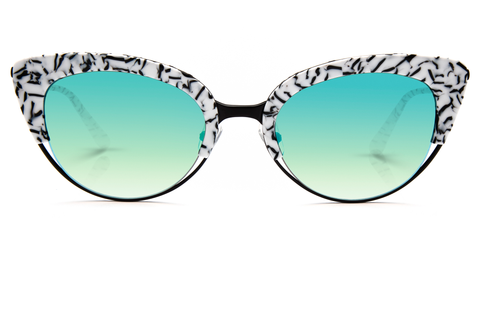 Hand-carved acetates merge seamlessly with accentuated angles for an ultra modern cat-eye, perfect for the sophisticated risk taker.  As seen on Elizabeth Olsen. Free shipping and lifetime warranty. Seafoam gradient mirrored lens and handcrafted imperial acetate frame with 24K gold plated hardware.