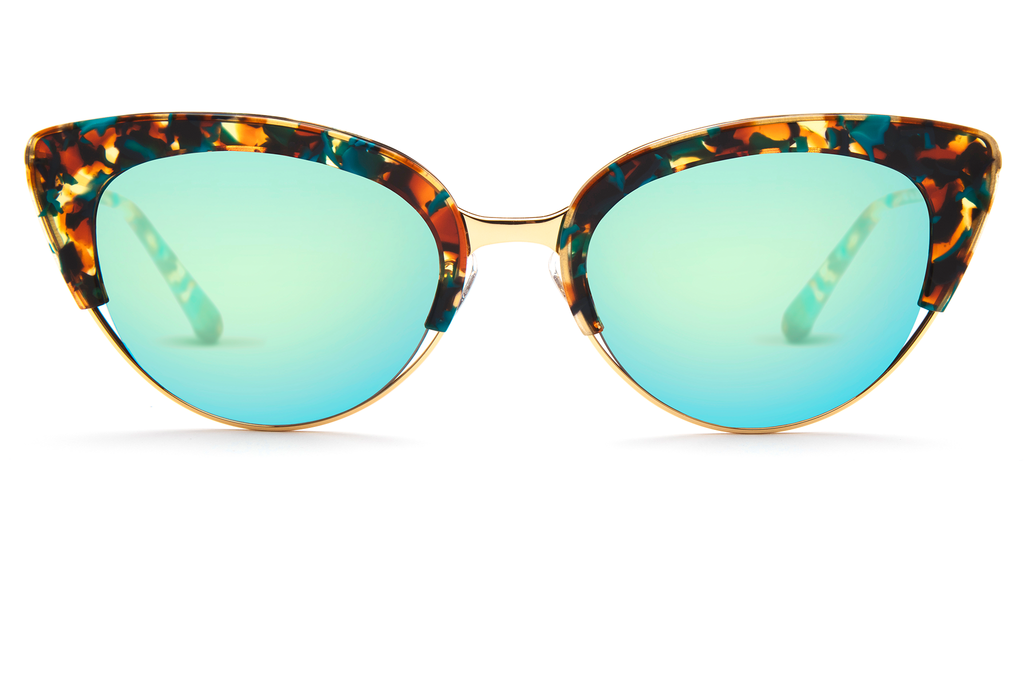 Hand-carved acetates merge seamlessly with accentuated angles for an ultra modern cat-eye, perfect for the sophisticated risk taker.  As seen on Elizabeth Olsen. Free shipping and lifetime warranty. Seafoam mirrored lens and handcrafted mambo acetate frame with 24K gold plated hardware.