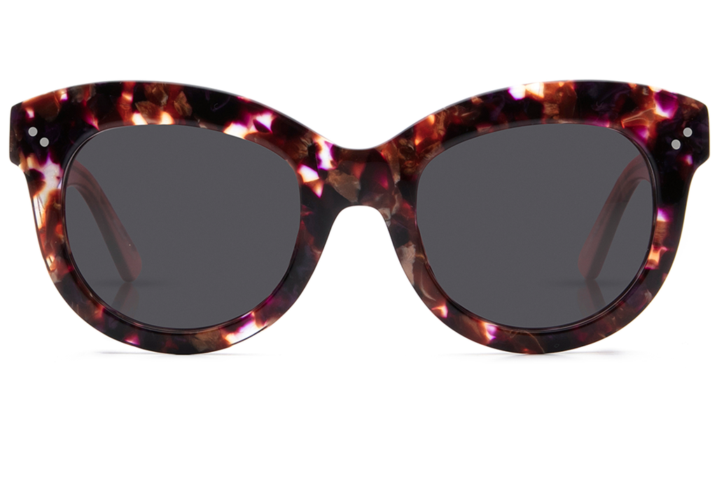 Julia exhibits the downtown vibe of the main gallery thoroughfare in New Orleans' Arts District, with an oversized shape that exudes effortless glamour.  As seen on Reese Witherspoon and Hailey Baldwin. Free shipping and lifetime warranty. Grey lens and stardust rose handcrafted acetate frame.