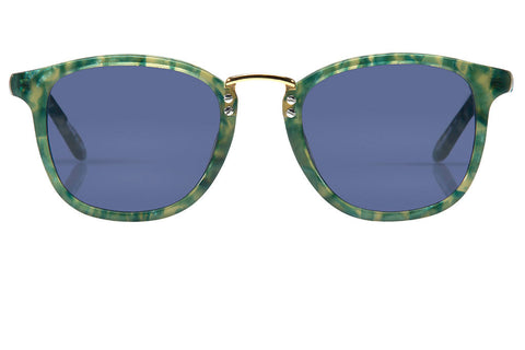 Franklin's metal bridge, lightweight construction and universal fit flatters just about everyone, making it a bold and confident choice for an everyday frame.  Blue lens and handcrafted ivy acetate frame with 24K gold plated hardware.