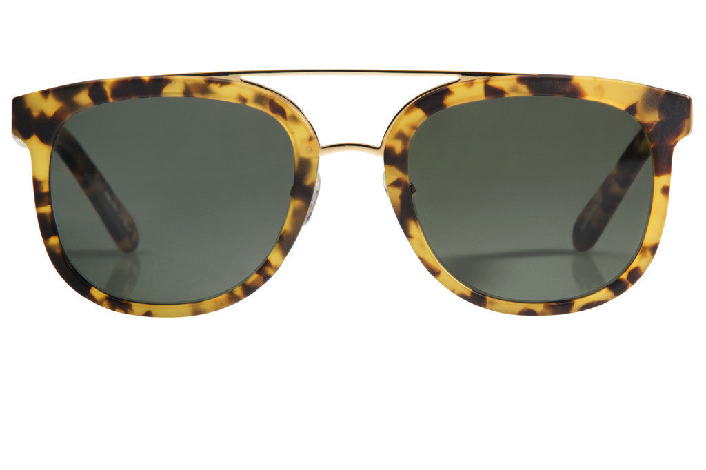 Some call it Clio Street, but we say say CL-10 — with its sweeping brow line and sporty shape, this oversized, lightweight frame is an everyday staple.  Lifetime warranty and free shipping both ways.  Green polarized lens with handcrafted matte osaka tortoise acetate frame and 24K gold plated hardware.