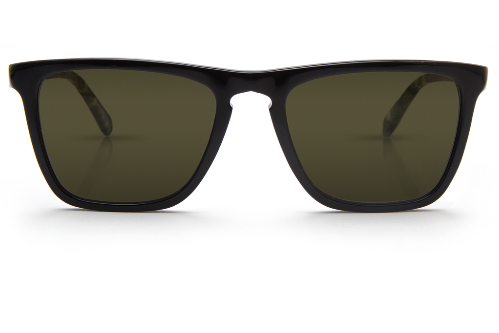 Inspired by the famed French-American pirate, Lafitte features a distinctive keyhole bridge and a classic fit that is suitable for an adventurous lifestyle.  Free shipping and lifetime warranty.  Green polarized lens and handcrafted black acetate frame.
