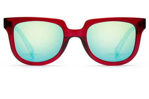 Lyons is a contemporary take on the iconic wayfarer silhouette, with a flat-top shape that is perfect for everyday wear.  Free shipping and lifetime warranty.  Seafoam mirrored lens and handcrafted burgundy acetate frame.