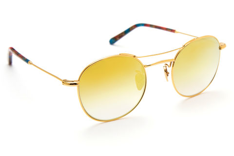 Orleans' lightweight, titanium construction makes for a universal frame shape that embodies the rhythm and ritual of the city we call home. As seen on Gigi Hadid, Zayn Malik, and Romee Strijd.  Free shipping and lifetime warranty. Gold gradient mirrored lens and handcrafted carnevale acetate frame with 24K gold plated titanium hardware.