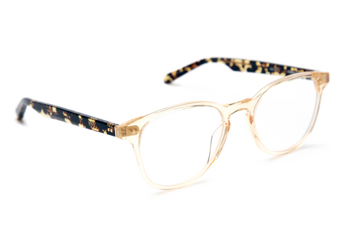 Featuring custom hinges and temple wire, Perrier's subtle, elongated shape and keyhole bridge make this traditional frame universally flattering. These frames come with a lifetime warranty and are eligible for free shipping and free returns.  Features handcrafted champagne and zulu acetate.