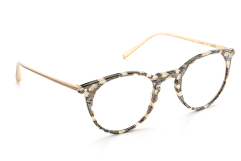 Featuring custom-cast titanium construction with linear temple detailing, Royal provides a flattering, retro-inspired update with its slim, rounded silhouette. These frames are prescription ready, have a lifetime warranty and are available for free shipping and free returns.  Features handcrafted Stella custom acetate with 18K titanium hardware.