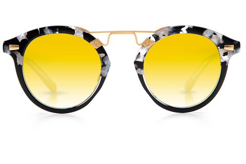 nspired by the French Quarter's detailed cast ironwork, STL II is the oversized take on the classic St. Louis frame, handcrafted with pinned hinges, premium 24K gold plated hardware, and subtle KREWE engraving.  Free shipping and lifetime warranty.  Gold gradient mirrored lens and handcrafted interstellar acetate frame.