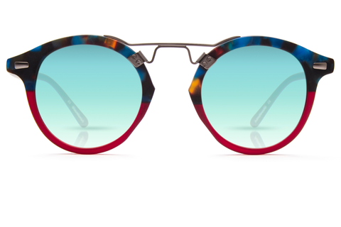 St. Louis Blue Steel to Burgundy boasts a brushed metal bridge, rounded seafoam gradient mirrored lenses and a retro-inspired silhouette making it a celebrity favorite.  Gigi, Kendall, Adriana Lima, Selena Gomez and Dakota Fanning all own a pair. These best-selling sunglasses are crafted from acetate and derive inspiration from the French Quarter's iconic cast-iron balconies. Free shipping both ways.