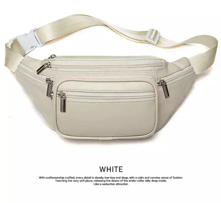 leather fanny pack white color