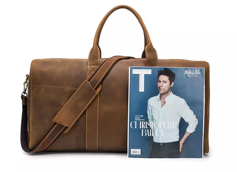 """Men/'s 20/"""" Genuine Leather Heavy Duty Travel Overnight Luggage Tote Duffle Bag Se"""