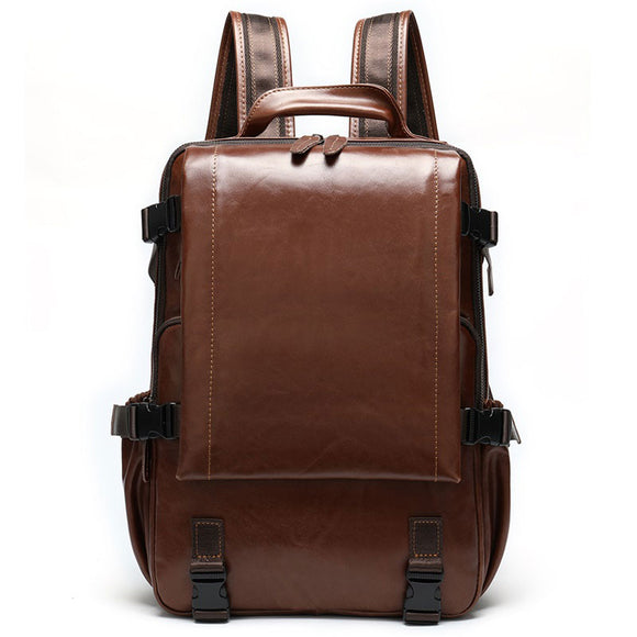 Vintage Genuine Cowhide Leather Laptop Backpack With Brown & Black Color for Men & Women