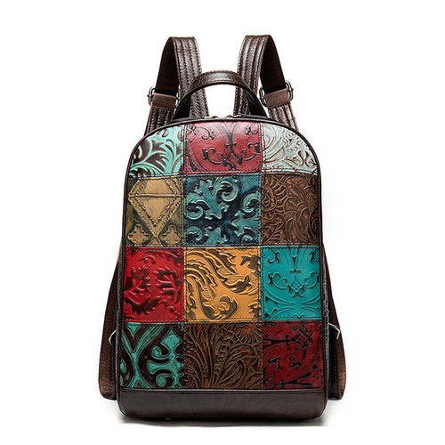 LukeCase Women Vintage Genuine Leather Backpack