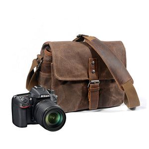 Oil Waxed Canvas Camera Crossbody Bag
