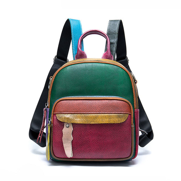Women's Leather Backpack Purse Fashion Vintage Genuine Leather Backpack With Random Mix Color