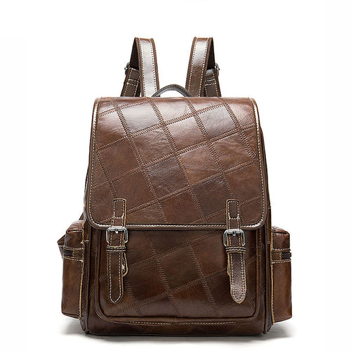 LukeCase Women Brown Vintage Oil Genuine Leather Backpack