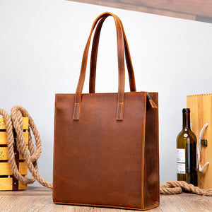 Women's Vintage Crazy Horse Genuine Leather Tote Bag