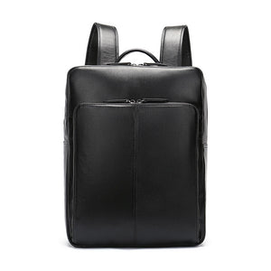 Black Genuine Leather Laptop Backpack for Men & Women