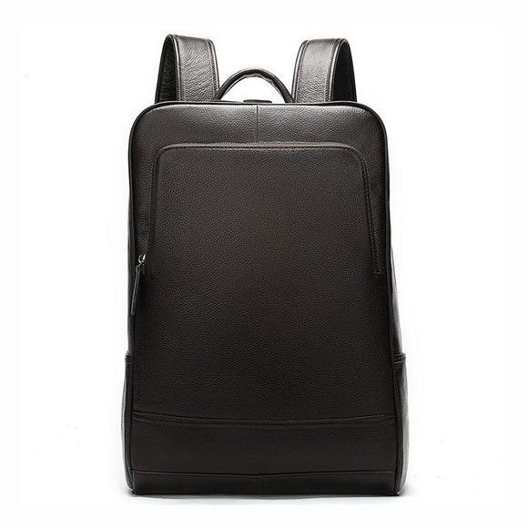 Black Genuine Cowhide Leather Laptop Backpack for Work