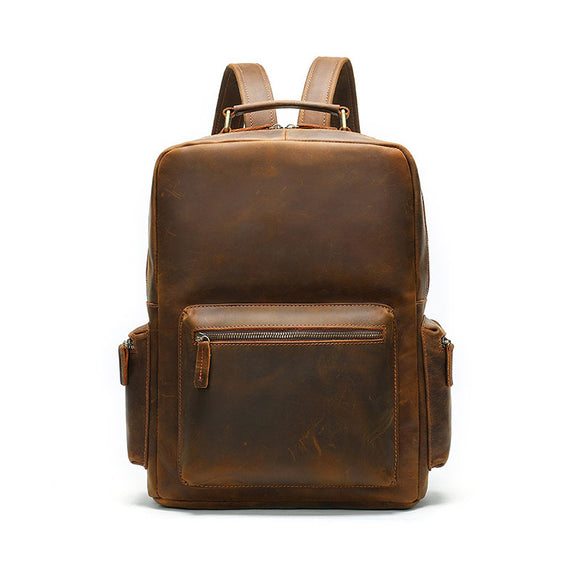 Men's Vintage Brown Genuine Leather Backpack,  Crazy Horse Full Grain Real Leather Laptop Backpack