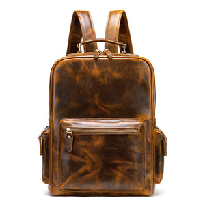 Vintage Crazy Horse Genuine Leather Backpack