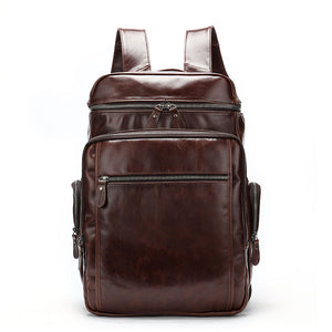 Men's Genuine Flexible Leather Travel Backpack