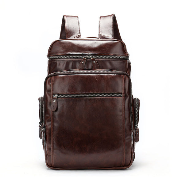 Men's Genuine Cowhide Leather Laptop Backpack With Brown & Gray Color