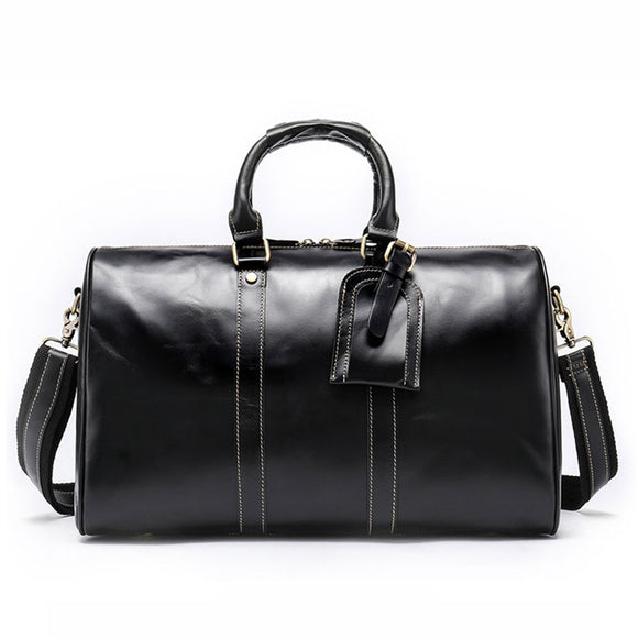 Men's Vintage Genuine Cowhide Leather Travel Duffle Bags