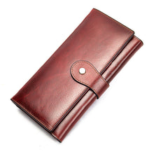 Load image into Gallery viewer, Women's  RFID Genuine Leather Trifold Long Wallet