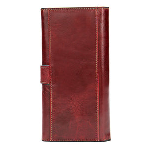 Women's  RFID Genuine Leather Trifold Long Wallet