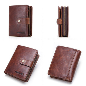 Men's RFID Genuine Leather Trifold Wallet