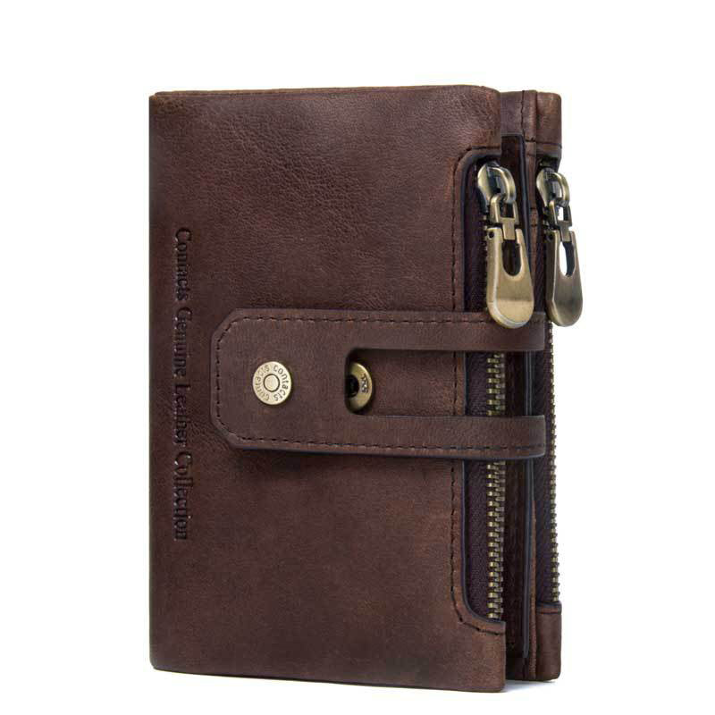 Men's Genuine Leather Bi-Fold Wallet