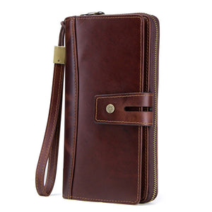 Men's Long Leather Wallet with Large Capacity