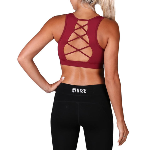 Equinox Sports Bra – Burgundy (max. support) - Rise