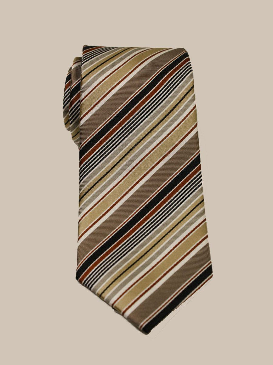 Heritage House 10177 100% Woven Silk Boy's Tie - Stripe - Tan/Rust/Black Boys Tie Heritage House