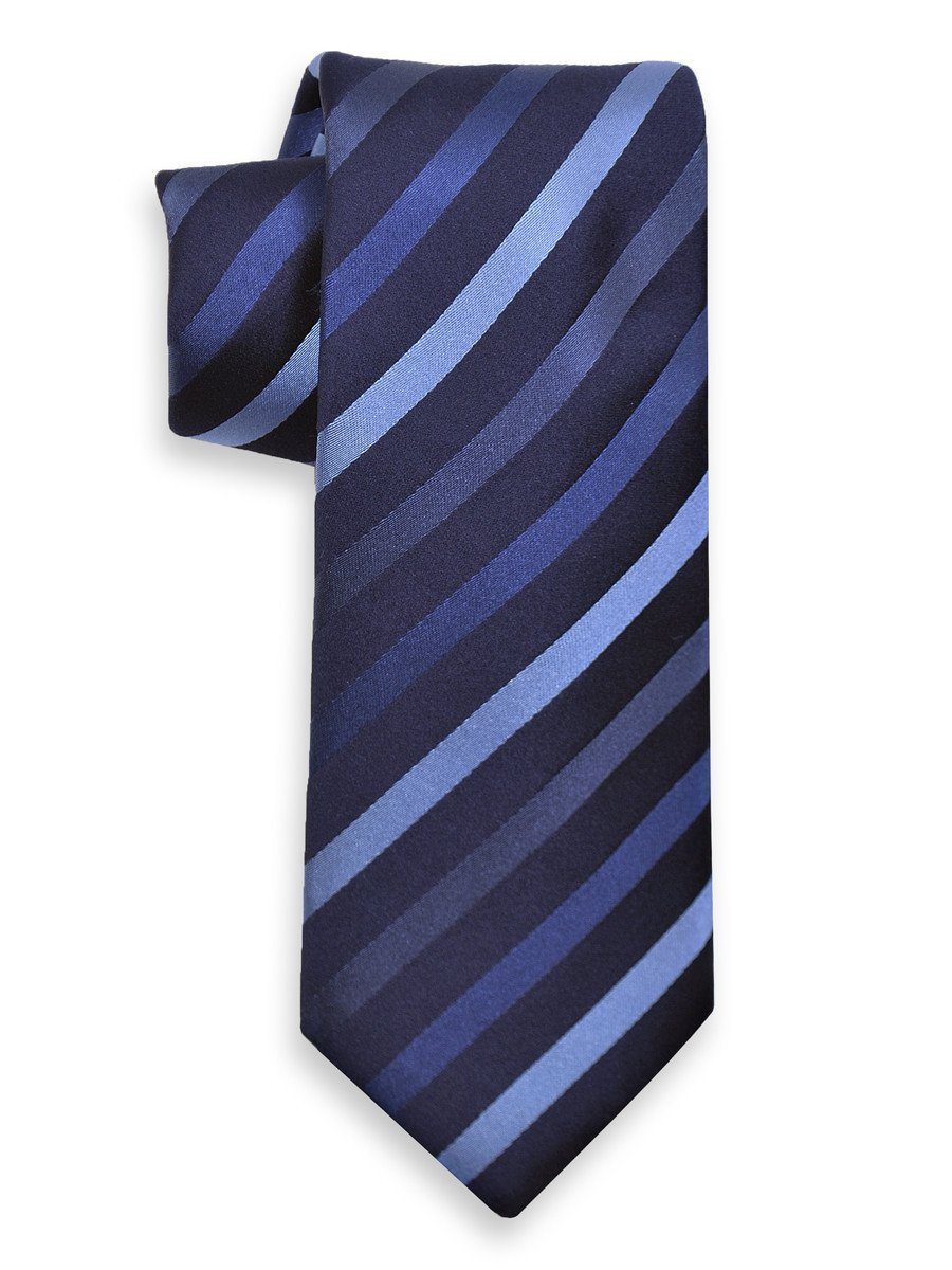 Heritage House 1033 Blue Boy's Tie - Stripe - 100% Silk Woven - Wool blend lining Boys Tie Heritage House