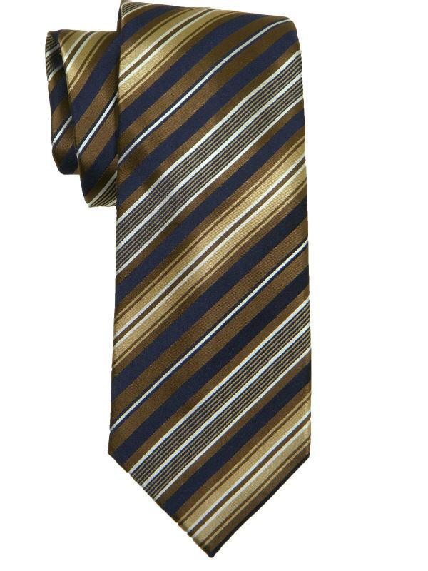 Heritage House 10625 100% Woven Silk Boy's Tie - Stripe - Khaki/Navy Boys Tie Heritage House